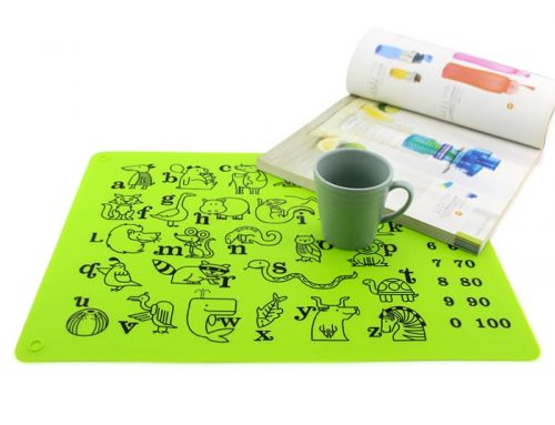 食品級兒童識字矽膠塗鴉餐墊