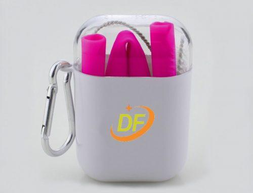 可客製Logo環保矽膠吸管+橢圓盒攜帶組